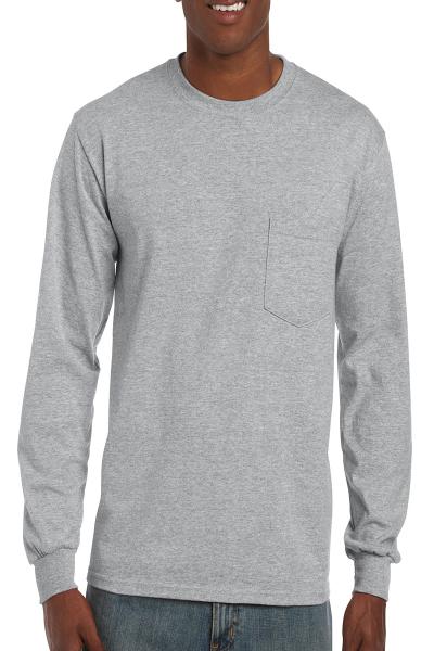 Gildan Ultra Cotton Adult Long Sleeve T-Shirt with Pocket