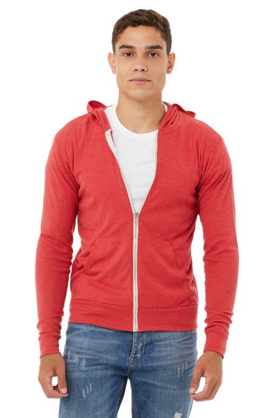 BELLA+CANVAS Unisex Triblend Full Zip Lightweight Hoodie