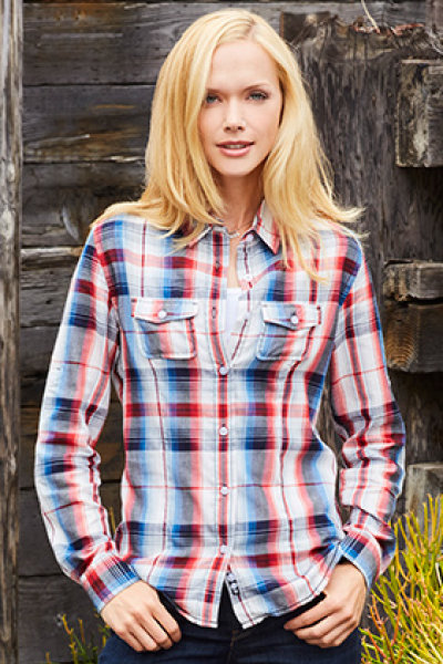 Burnside® Plaid Pattern Woven Ladies Long Sleeve