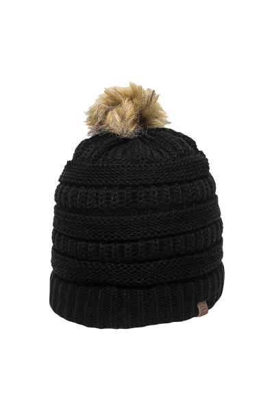 Outdoor Cap Cable Knit Faux Fur Pom