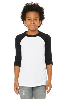 BELLA+CANVAS Youth 3/4 Sleeve Baseball Tee