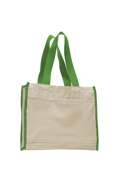 Q-TEES Canvas Tote with Colored Handles