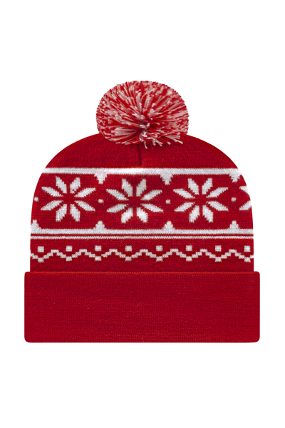 Cap America USA Made Snowflake Knit Cap w/Pom