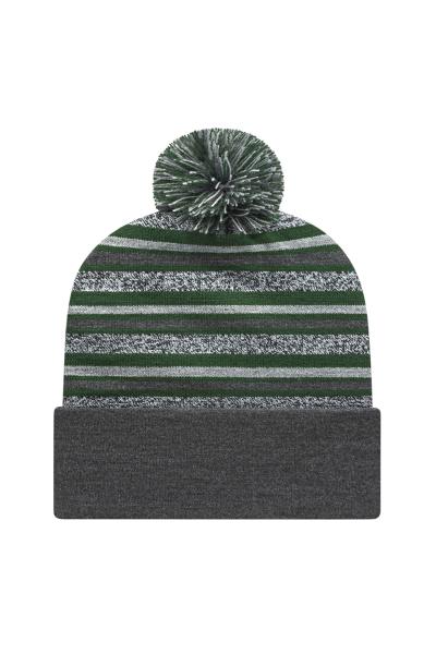 Cap America Made in the USA Striped Knit Cap w/ Pom